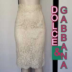DOLCE AND GABBANA IVORY LACE PENCIL SKIRT NWT